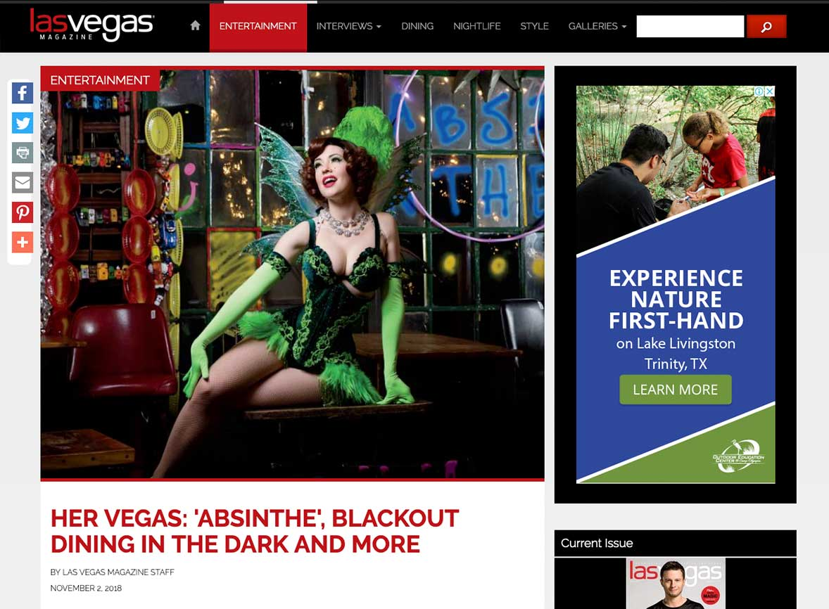 Her Vegas: 'Absinthe', Blackout Dining in the Dark and more